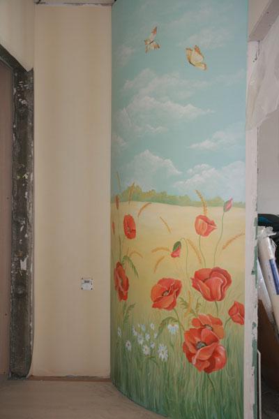 роспись стен цветы на стене Новосибирск