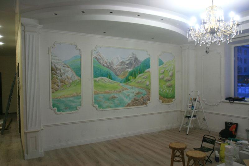 Роспись стен в технике объемного нанесения штукатурки
