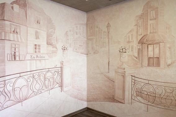 Общий вид на роспись стены