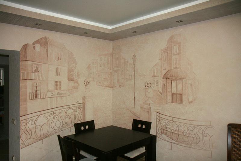 Общий вид на роспись стены с расставленной мебелью